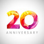 20 Th Anniversary Numbers. 20 Years Old Multicolored Logotype. Age Congrats, Congratulation Art Idea poster