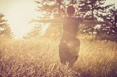 Running In Sunset. Lifestyle Concept. Hipster Woman Running In Sunset In Meadow. Healthy Lifestyle.  poster