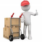 stock photo of hand truck  - 3D worker with a package and thumb up - JPG