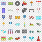 Crossroad Icons Set. Cartoon Of 36 Crossroad Ector Icons For Web For Any Design poster