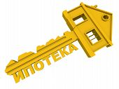 Mortgage Key. Translation Text: mortgage. One Golden Key In Form Of House With Russian Word Mortga poster