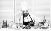 Chef Handsome Hipster. Get Ready. Man Bearded Chef Getting Ready Cooking Delicious Dish. Chef At Wor poster