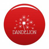 Fluffy Dandelion Logo Icon. Simple Illustration Of Fluffy Dandelion Icon For Any Design Red poster