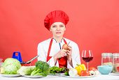 Woman In Cook Hat. Restaurant Menu. Dieting. Organic Eating And Vegetarian. Housewife. Professional  poster