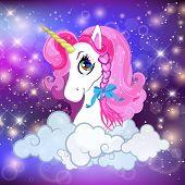 Unicorn Head With Pink Mane Portrait On Rainbow Mesh Kawaii Universe Galaxy Space Or Night Sky Holog poster
