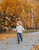 Girl In The Park Autumn Throws Up The Golden Fallen Maple Leaves poster
