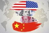 Us Dollar And Yuan Banknote On Usa And China Flags. Its Is Symbol Of Economic Tariff Trade War Crisi poster