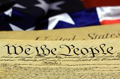image of preamble  - Preamble to the Constitution of the United States and American Flag - JPG