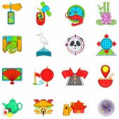 Asia Travel Icons Set. Cartoon Set Of 16 Asia Travel Vector Icons For Web Isolated On White Backgrou poster
