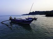 Traditional Sailing Wooden Boat On The Water Parking At The Harbour In Summer Holiday In Lampung, In poster