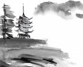 Watercolor And Ink Illustration Of Chinese Landscape With Pagoda And Trees In Style Sumi-e, U-sin. T poster