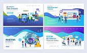 Landing Pages Template Set For Business, Finance, Data Analysis And Marketing. Modern Flat Design Co poster