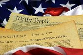 pic of preamble  - Preamble to the Constitution of the United States and American Flag.