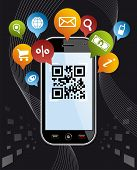 picture of qr-code  - Black smartphone mobile or Cell Phone device with QR code app on black background - JPG