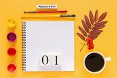 Wooden Calendar September 1, Cup Of Coffee, Open Notepad, Autumn Colored Leaves And Watercolor Paint poster