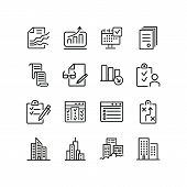 Business Processes Line Icon Set. Graphs, Analytics, Reports, Office Building. Business Concept. Can poster
