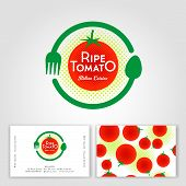 Ripe Tomato Cafe Logo. Ripe Red Tomato, Fork And Spoon In The Circle. Italian Traditional Food Cuisi poster