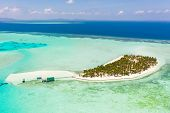 Seascape With A Paradise Island. Onok Island Balabac, Philippines. A Small Island With A White Sandy poster