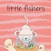 Cute Kittens Catch Fish From The Aquarium And Have Fun And Laugh. Joyful Little Kittens Fishers In T poster