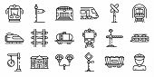 Railway Station Icons Set. Outline Set Of Railway Station Icons For Web Design Isolated On White Bac poster