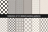 Polka Dot Patterns Collection. Vector Geometric Seamless Textures With Circles, Dots, Spots. Set Of  poster
