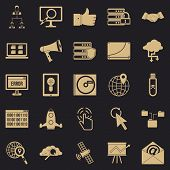 Shadow Internet Icons Set. Simple Set Of 25 Shadow Internet Icons For Web For Any Design poster