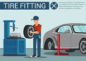 Man Near Machine Wheel Repair. Tire Fitting. Wheel Change In Car. Service Station. Auto Service. Aut poster