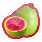 Whole Guava Logo. Cartoon Of Whole Guava Logo For Web Design Isolated On White Background poster