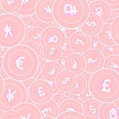 International Currencies Copper Coins Seamless Pattern. Cute Scattered Pink Global Coins. Success Co poster