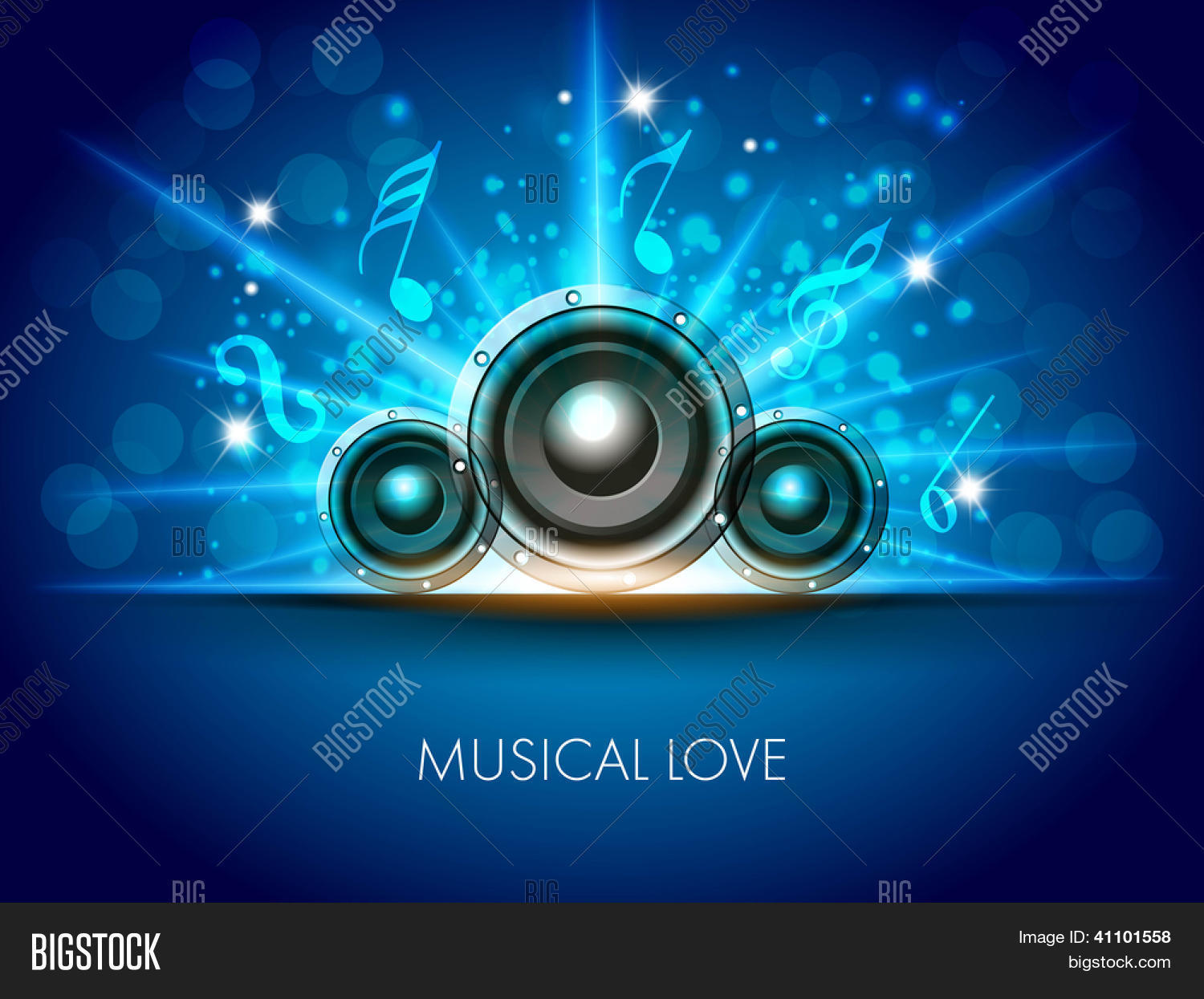 Abstract Musical Flyer With Speakers On Blue Background