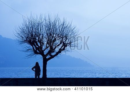 Silhoette of a hiker admiring the hazy winter dawn of a lake with misty mountains in the background underneath a tree (Lago di Como, Italy)