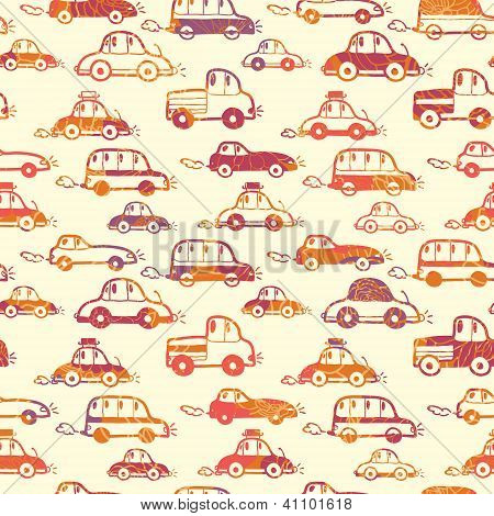 Vibrant cars seamless pattern background