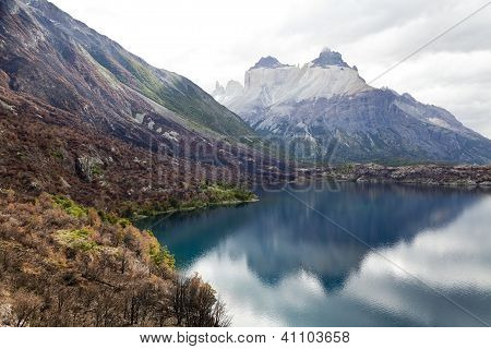 Cuernos Del Paine Reflected At A Lake