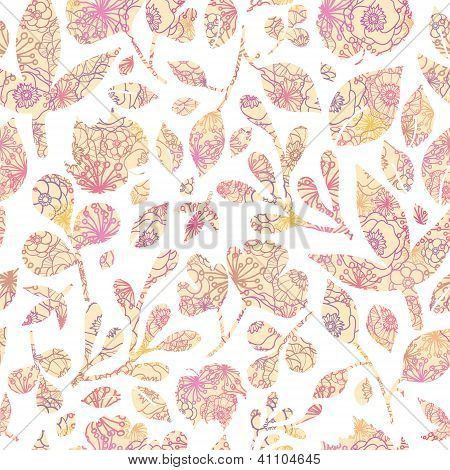 Textured pastel Leaves Seamless Pattern background