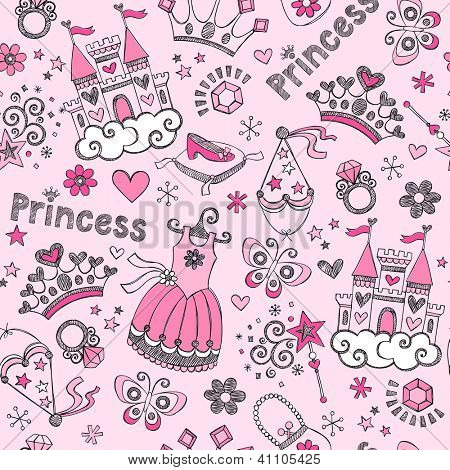 Seamless Pattern Fairy Tale Princess Tiara Crown Notebook Sketchy Doodle Design Elements Vector Design