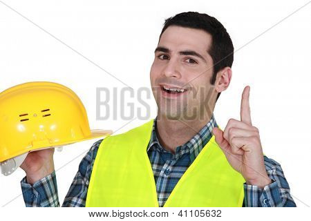 Construction worker having an idea