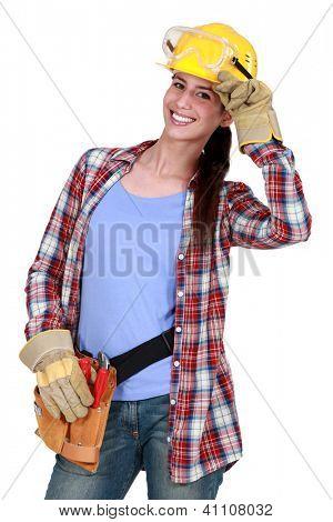 Smiling tradeswoman