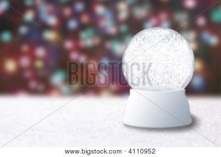 Empty Snow Globe On A Christmas Blurry Background