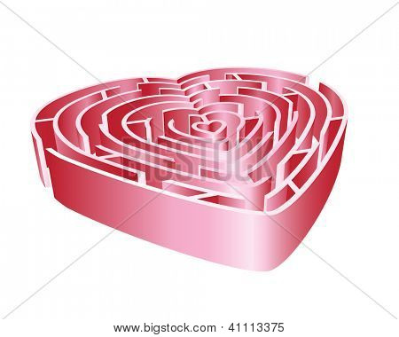 A 3D heart maze in shades of pink. Isolated on white background. Also available in vector format.