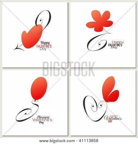 Stylish Calligraphic Valentine's Day Greeting Cards - Vector Illustration