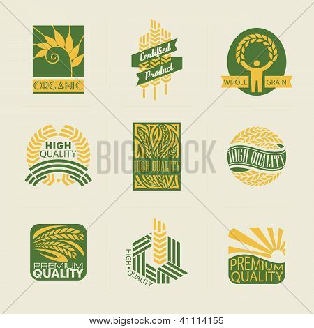 Wheat Labels And Badges. Set Of Logo Templates. Elements For Design.