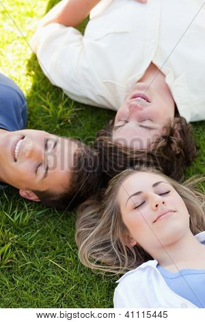 Three happy students resting together in the grass