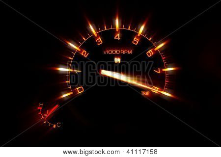 Speedometer on a dashboard in a car