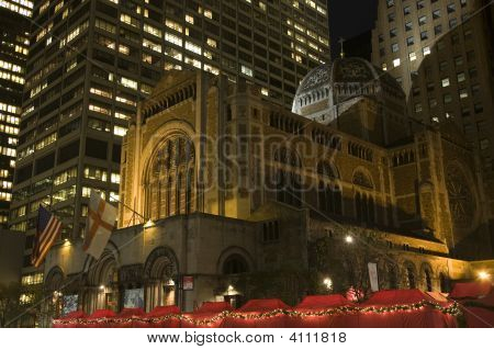 Saint Bartholomew's Episcopal Church New York City Nighttime Christmas Fair
