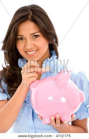 Casual Woman Saving Money