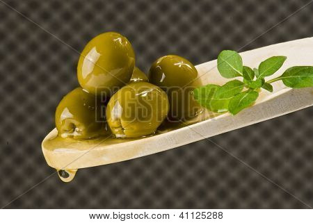 Olives On Wooden Spoon