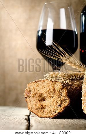 Wine, bread and wheat