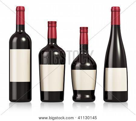 Set of wine and cognac bottles