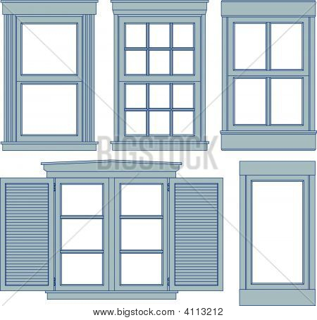 Five Window Blueprint Vector Illustrations