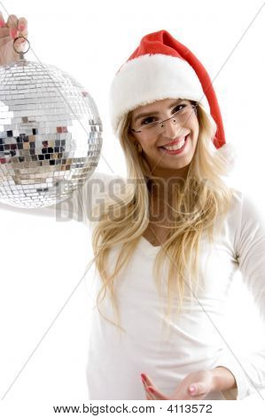 Front View Of Smiling Woman In Christmas Hat Holding Disco Ball
